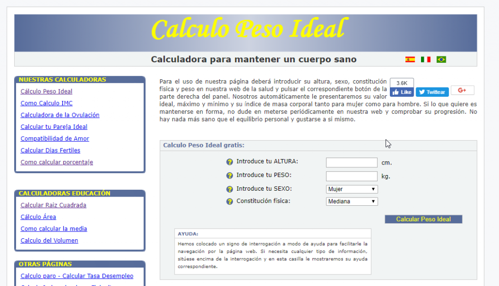 Calcular tu peso ideal